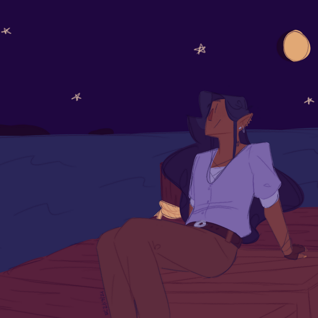 Under the moon and stars